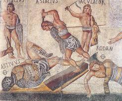 Gladiators fighting on a Roman mosaic floor