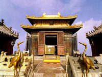 Golden Hall - a small gold building up a steep flight of stairs with a Chinese curved roof