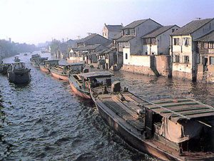 Small barges on the Grand Canal