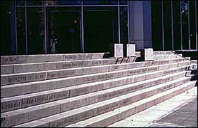 Limestone steps of a building