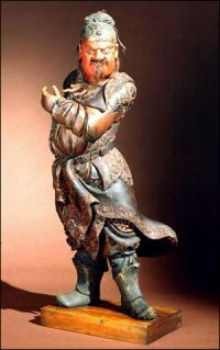 A statue of Guan Yu looking angry