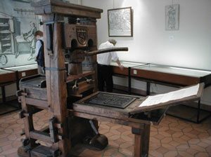 Reproduction of a press from Gutenberg's time