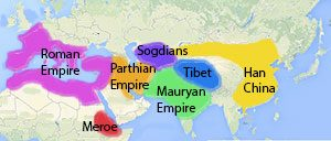 Map shows Han Dynasty China, the Mauryan Empire, the Sogdians, Tibet, and the Parthian Empire