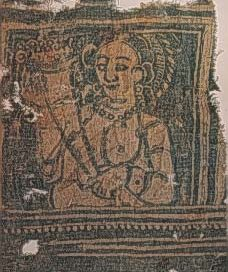 cloth with woven woman wearing a pearl necklace