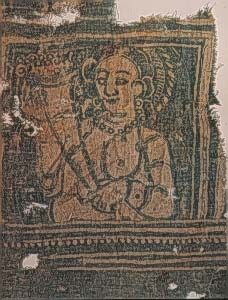 cloth with woven woman wearing a pearl necklace: Han art