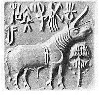 Indian sealing of an animal with a long horn and some writing