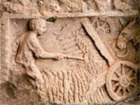 Roman carving of a harvesting machine