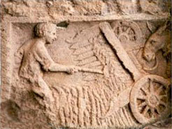 Roman carving of a harvesting machine: history of farming