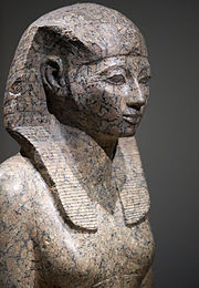 Ancient Egyptian granite statue of the pharaoh Hatshepsut - a woman