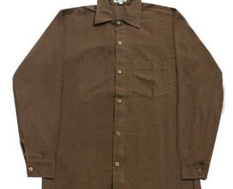 Brown hemp button-down shirt