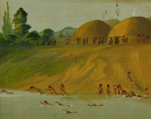 Hidatsa people swimming crawl stroke (George Catlin, Missouri 1833 AD)