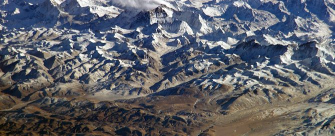 Himalaya mountains from a satellite view, with snow on top