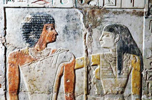 The priestess Meretites hugs her husband, the singer Kahai (Saqqara, Old Kingdom Egypt)