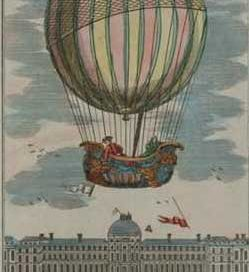 a drawing of a big balloon with a basket underneath with men in it, and the Invalides in Paris below it