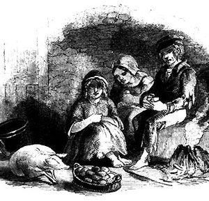 Irish family eating potatoes