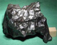 iron meteorite: a dark lump of shiny metal