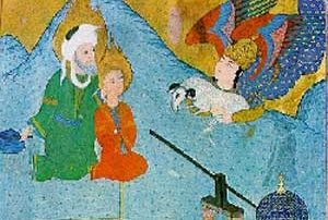 Islamic miniature painting of a white man and a boy with a sheep