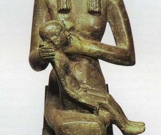 Isis and her baby Horus (Middle Kingdom, now in the Metropolitan Museum of Art, New York)