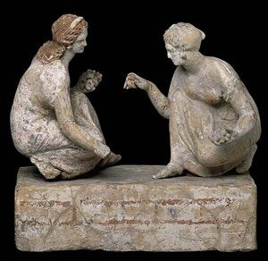 Greek girls playing knucklebones (ca. 200 BC, now in British Museum)