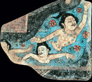 Swimming the crawl stroke - Kizil Caves in the Tarim Basin (Western China, ca. 300 AD)