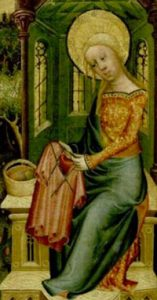 painting of a woman knitting in the round with four needles