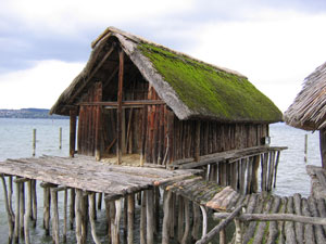 Reconstruction of lake house (Pfahlbau Museum Unteruhldingen on Lake Constance, Germany, ca. 3000 BC)