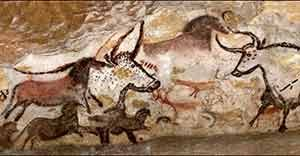 Hunters, bison and aurochs Cave painting from Lascaux, ca. 15,000 BC