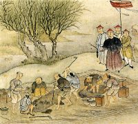painting of Chinese men destroying boxes