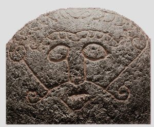 Norse god Loki? (Snaptun Stone, Sweden, ca 1000 AD)