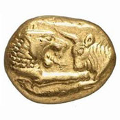 A Lydian gold coin with a lion on it