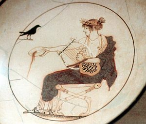 Greek vase of Apollo playing a lyre