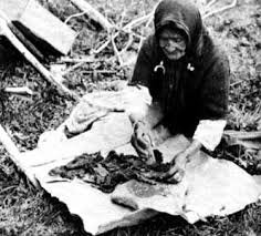 Photo of an older Native woman sitting on the ground turning pieces of meat