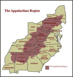 A map showing which states the Appalachian Mountains run through