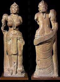 A little stone statue of a woman wearing a sari: history of clothing