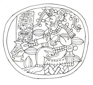 Maya line drawing of a man with an elaborate headdress and cocoa pods sticking out of his body - History of chocolate
