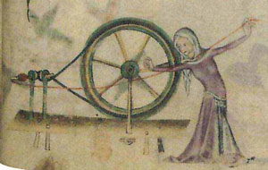 A medieval woman walking and spinning