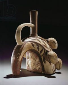 Moche clay pot in the shape of a frog climbing a cocoa tree (ca. 500 AD) - History of chocolate