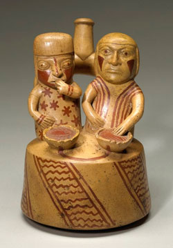 Clay model of Moche people eating