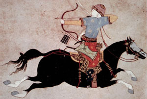drawing of man shooting a bow backwards while riding a horse