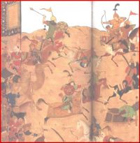 Painting of a battle: Mongols