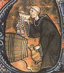 Christian monk drinking a bowl of wine with the barrel by his side