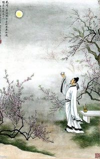 Chinese painting of a man sacrificing to the moon