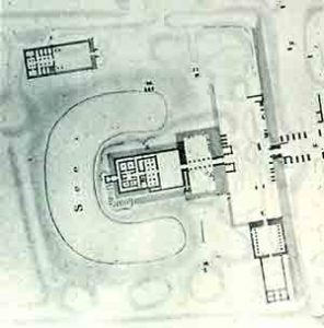 A plan of the temple of Mut at Karnakshowing the crescent-shaped lake