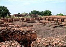 ruined stone walls around a courtyard at Nalanda University, India - History of math - Indian Math