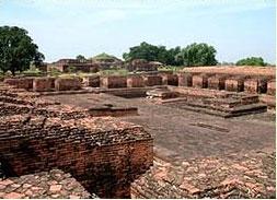 ruined stone walls - Nalanda University, India - Buddhism in India