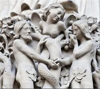 Adam and Eve get the apple (Notre Dame Cathedral, Paris)