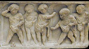 Roman boys tossing nuts (tomb of Lucius Aemilius Daphnus, ca. 300 AD)