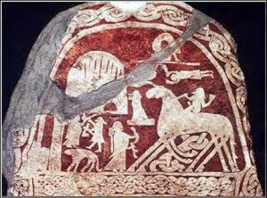 Viking stone, 600s AD, from Gotland, Sweden. Odin is riding his horse, Sleipnir.