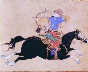 Painting of an Ottoman archer on horseback