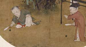 Two young children playing paddleball in the Song Dynasty